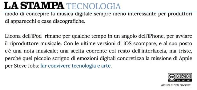 Screenshot from La Stampa